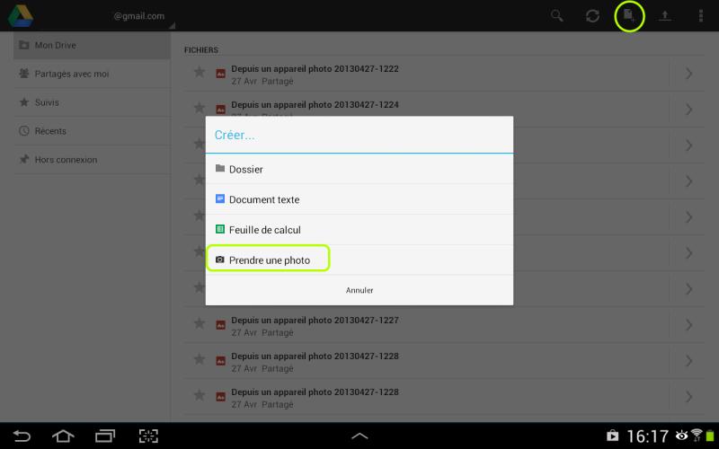 Ajouter une photo dans Google Drive